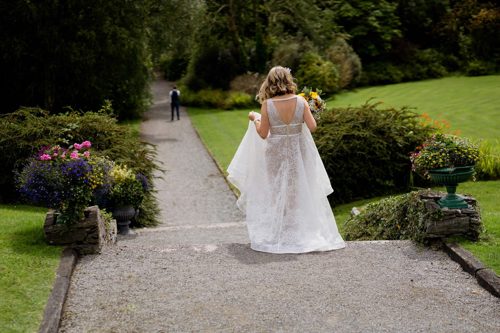 Dromquinna Manor wedding first look photography