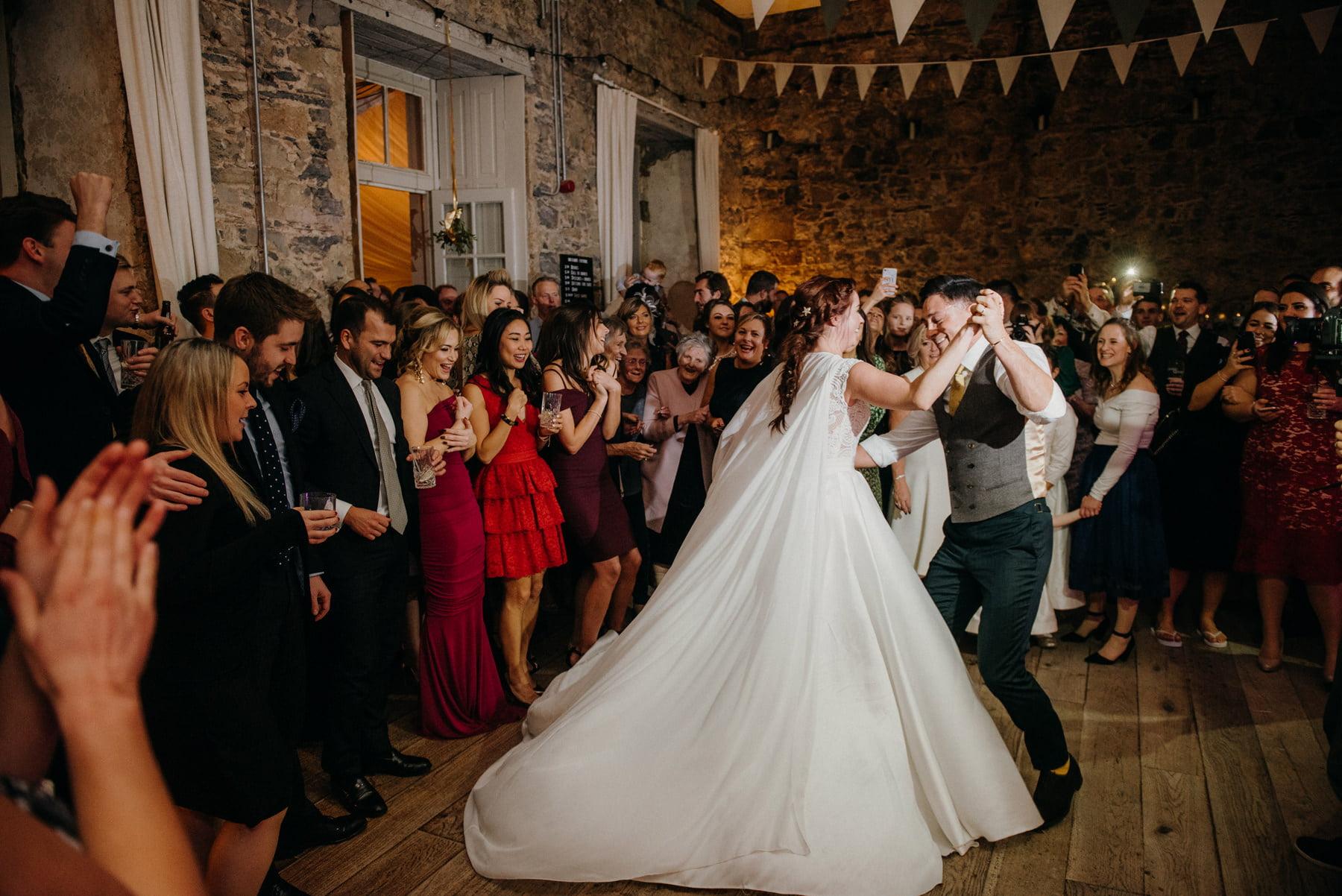 Cloughjordan House Winter Wedding dances at night