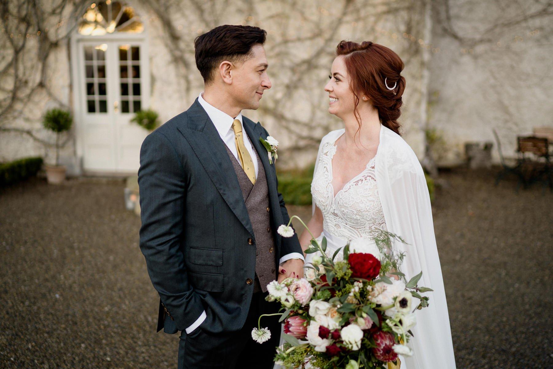 Cloughjordan House Winter Wedding couple portrait